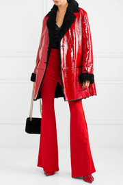 Christopher Kane Shearling-lined crinkled patent-leather coat