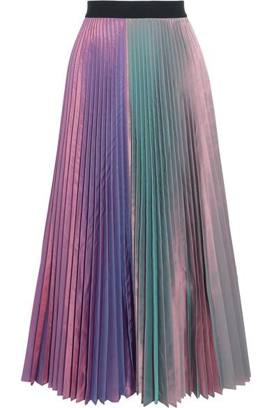 Christopher Kane - Iridescent Pleated Silk-blend Taffeta Midi Skirt - Lavender