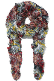 Fringed metallic knitted scarf