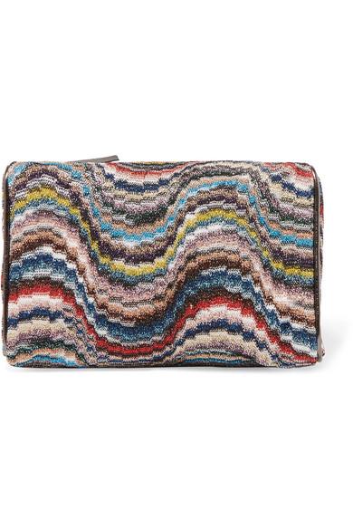 Missoni - Leather-trimmed Metallic Crochet-knit Cosmetics Case - Ivory