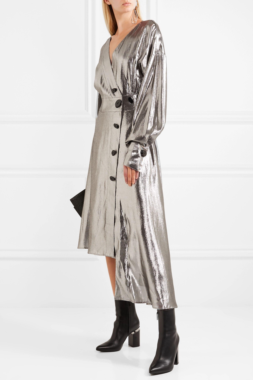 Wanda Nylon Silk-blend lamé wrap dress