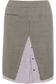 Houndstooth wool-blend tweed and striped cotton-poplin midi skirt
