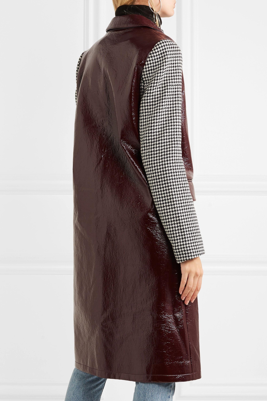 Wanda Nylon Manteau en vinyle texturé et en tweed pied-de-poule