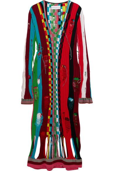 Wanda Nylon - Distressed Ribbed Wool Midi Dress - Red