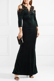 Cold-shoulder tulle and lace-paneled velvet gown