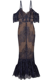 Marchesa Notte Cold-shoulder tulle-paneled guipure lace gown