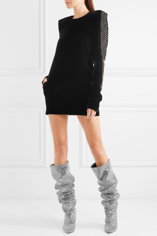 SAINT LAURENT Niki Swarovski crystal-embellished leather knee boots