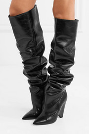 Saint Laurent Niki glossed-leather knee boots