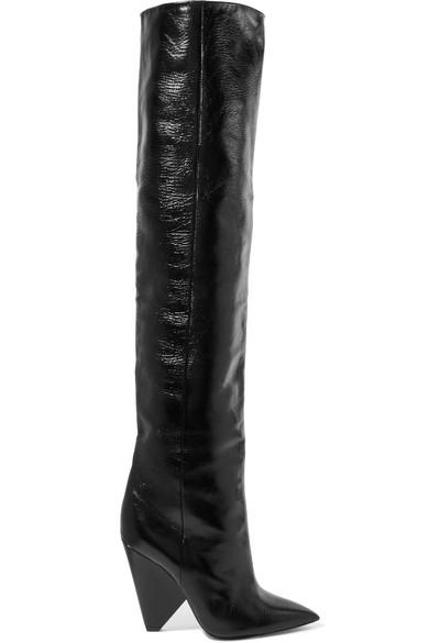 Saint Laurent Niki kniehohe Stiefel aus Glanzleder