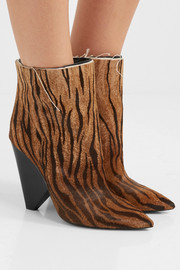 Saint Laurent Niki zebra-print calf hair ankle boots