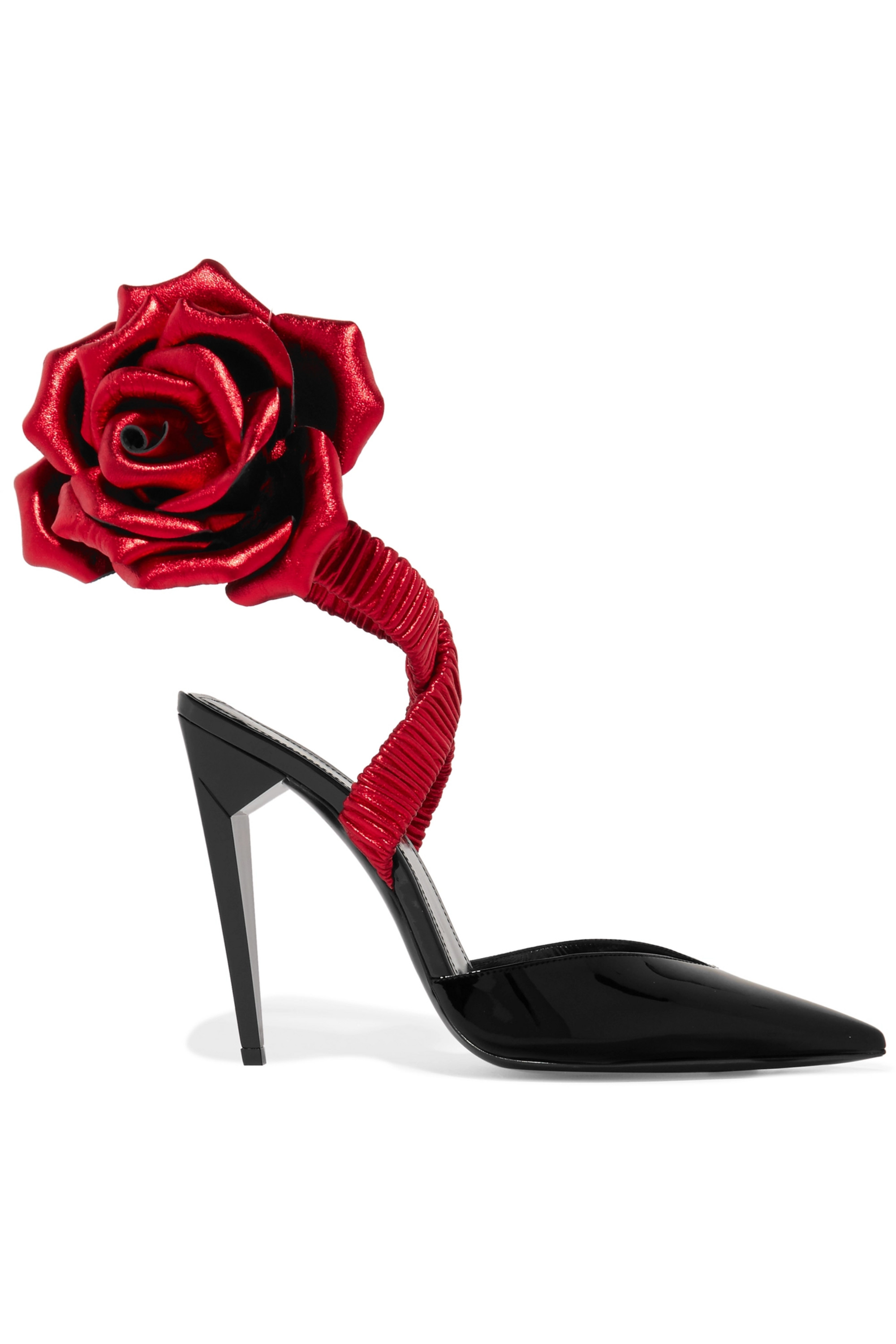SAINT LAURENT Freja Pumps aus Lackleder mit Applikationen