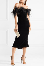 Marchesa Off-the-shoulder feather-trimmed velvet midi dress