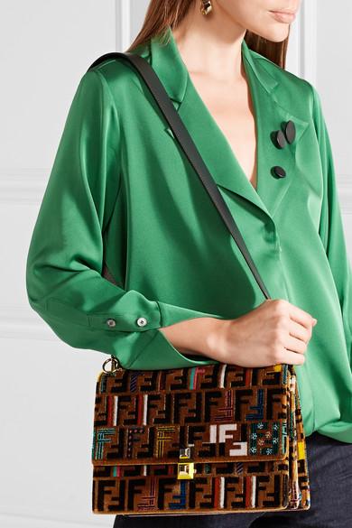 Fendi Kan I Medium Velvet Shoulder Bag anUiQyee