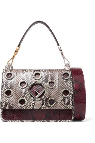 f581c141b3a3 Fendi. Kan I eyelet-embellished python shoulder bag