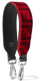 Fendi Printed velvet and leather bag strap