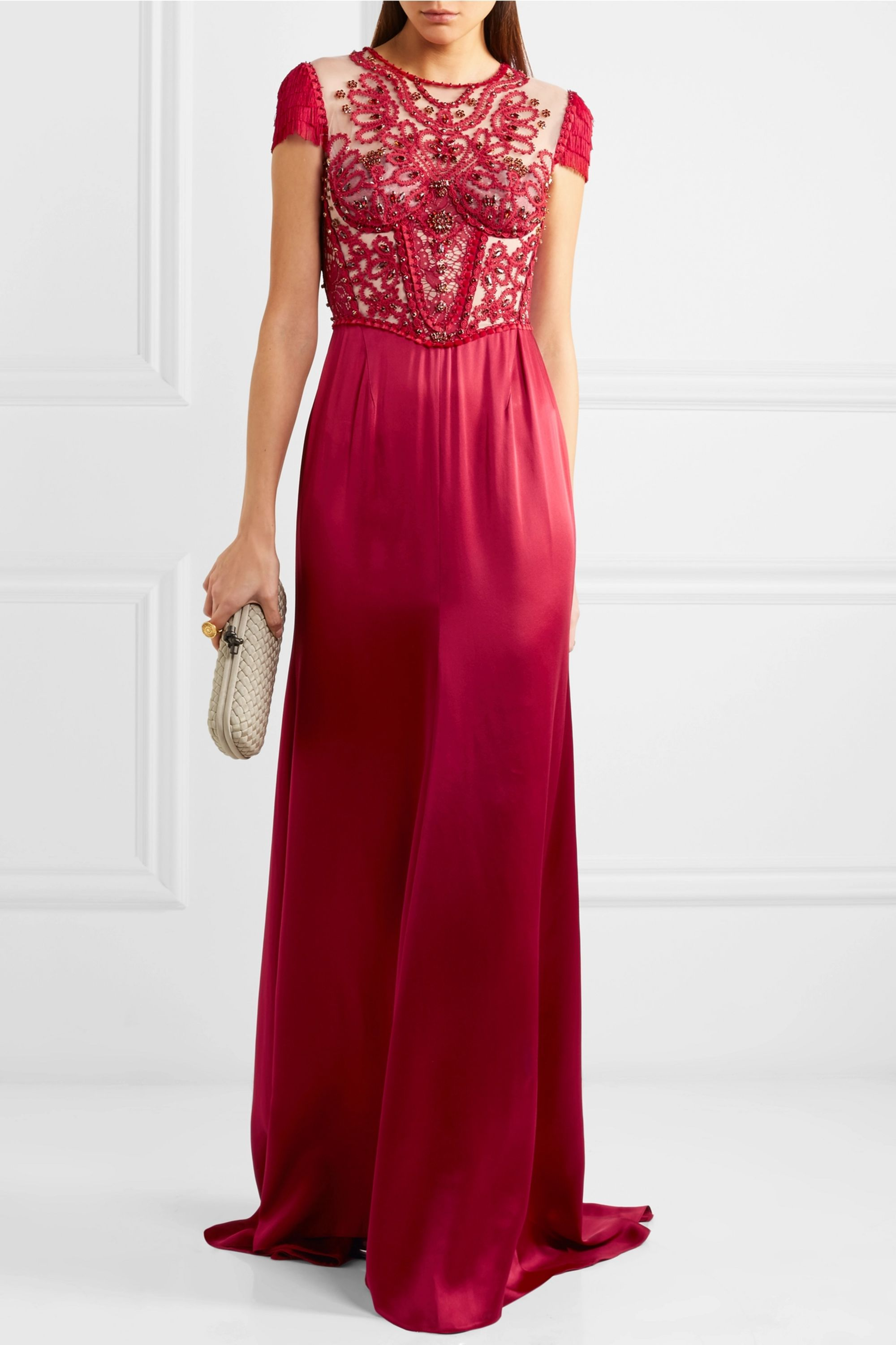 Jenny Packham Embroidered tulle and satin gown