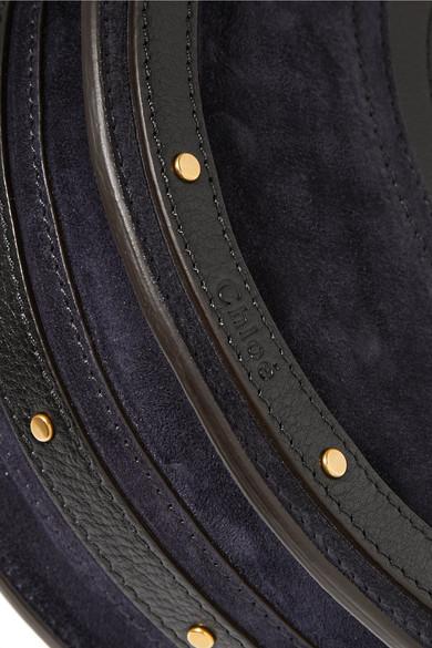 Chloé Pixie Schultertasche aus Veloursleder und strukturiertem Leder  Um Online Kaufen FlaJ0Tp