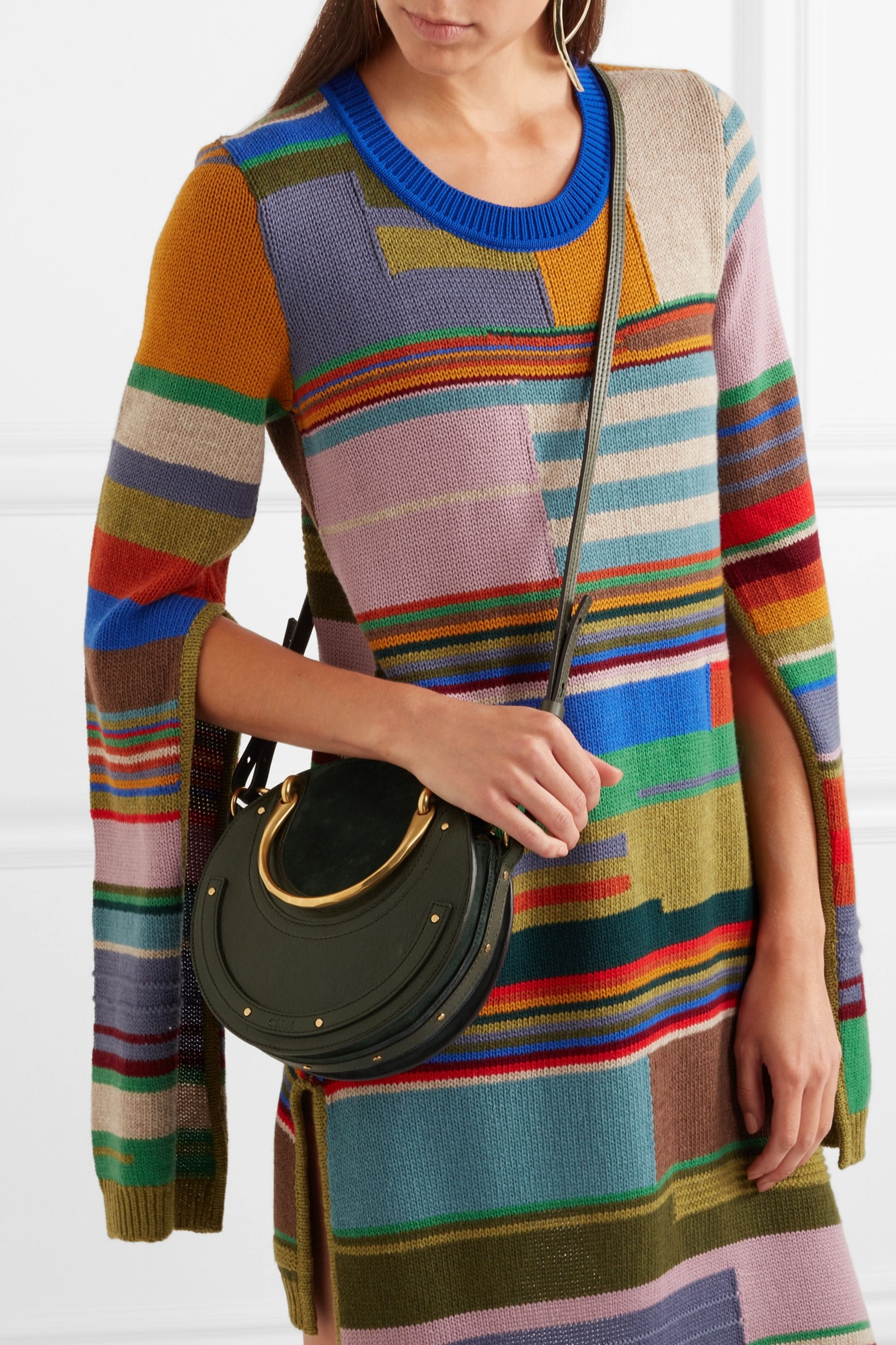 Chloé Pixie suede and textured-leather shoulder bag