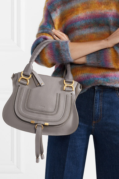 Chloé Marcie Small Textured Leather Tote Net A Porter Com