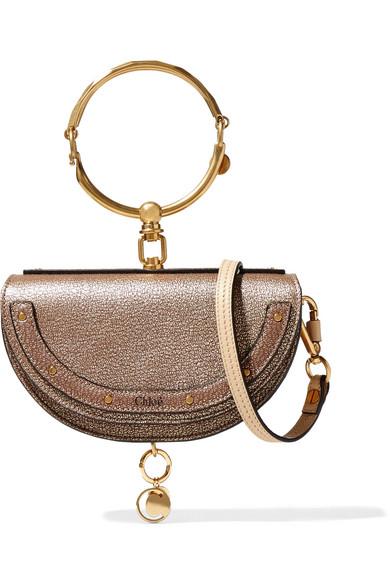 1462cd7098692 Chloé. Nile Bracelet small metallic textured-leather shoulder bag