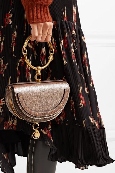 746d203485 Chloé | Nile Bracelet small metallic textured-leather shoulder bag ...