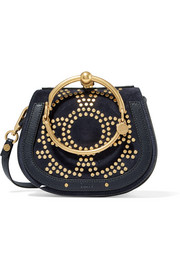 Chloé Nile Bracelet small embellished textured-leather and suede shoulder bag
