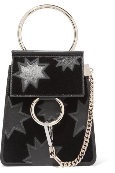 Chlo 233 Faye Bracelet Mini Flocked Leather Shoulder Bag