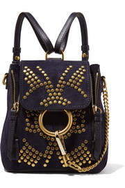 Chloé Faye mini studded suede and leather backpack