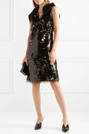 Faye poplin-trimmed sequined tulle mini dress