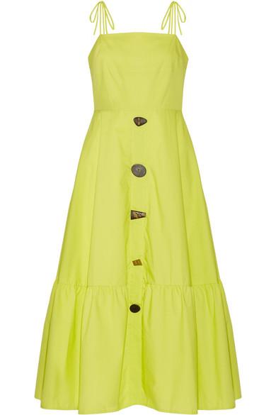 Rejina Pyo - Maria Cotton-poplin Midi Dress - Chartreuse