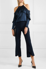 Florence cold-shoulder silk-satin top