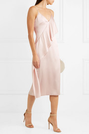 Laurel ruffled silk-satin midi dress
