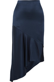 Cara asymmetric silk-satin midi skirt