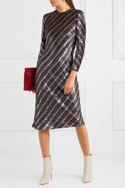 Striped sequined silk-georgette midi dress
