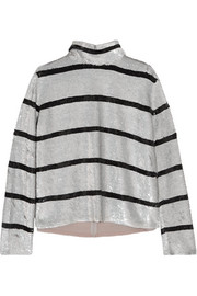 Ashish Striped sequined silk-georgette turtleneck  top