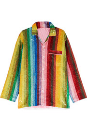 Ashish Striped sequined cotton shirt