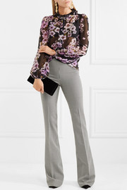 Houndstooth wool flared pants