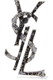 Saint Laurent Ruthenium-plated, crystal and enamel clip earrings