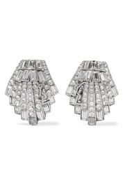Saint Laurent Silver-tone crystal clip earrings