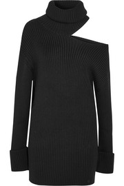 Monse Cutout ribbed wool turtleneck dress