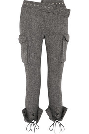 Lace-up herringbone wool skinny pants