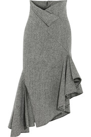 Asymmetric herringbone wool midi skirt