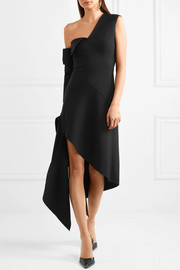 One-shoulder asymmetric wool-blend gabardine midi dress