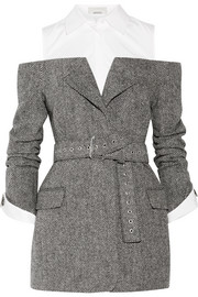 Monse Cutout herringbone wool and cotton-poplin blazer