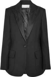 Monse Zip-embellished satin-trimmed wool-blend gabardine blazer