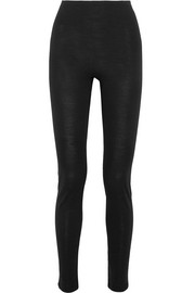 Merino wool and silk-blend jersey leggings