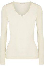 Merino wool and silk-blend jersey top