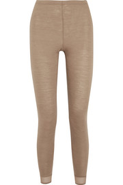 Hanro Calla tulle-trimmed wool and silk-blend jersey leggings