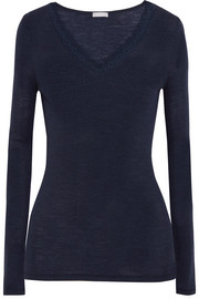 Leavers lace-trimmed ribbed wool and silk-blend top