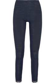 Leavers lace-trimmed ribbed wool and silk-blend leggings